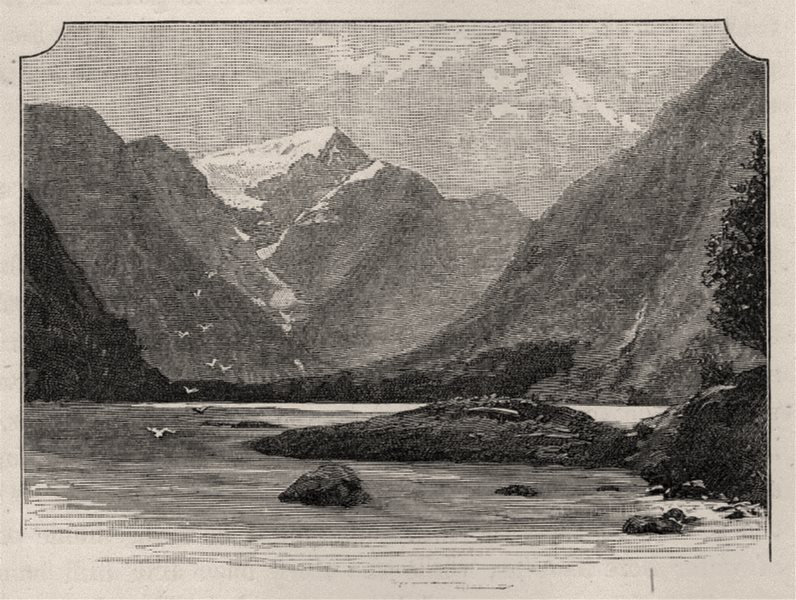 Milford Sound. The West Coast Sounds. New Zealand 1890 old antique print