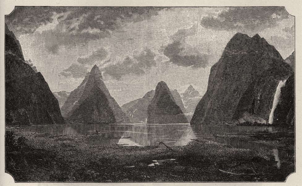 Associate Product Another Bit of Milford Sound. The West Coast Sounds. New Zealand 1890 print
