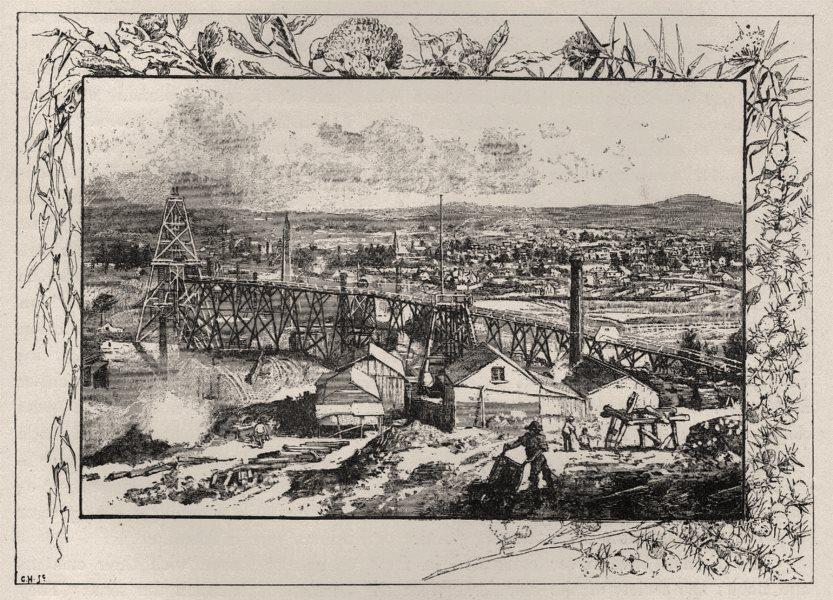 The Town. Sandhurst. Australia 1890 old antique vintage print picture