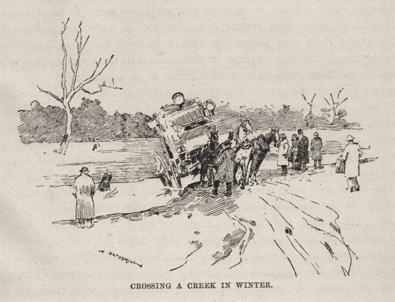 Crossing a Creek in Winter. Australia 1890 old antique vintage print picture