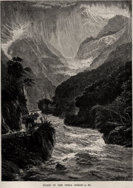 Associate Product Flood in the Otira Gorge. New Zealand 1890 old antique vintage print picture