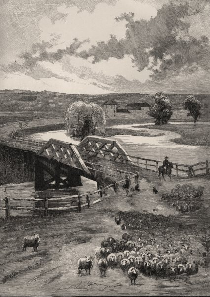Associate Product Bridge at Goulburn. Australia 1890 old antique vintage print picture