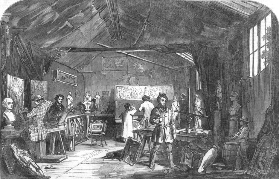 Associate Product WARWICKSHIRE. Wood Carving-Studio of Messrs, Cookes, Warwick, old print, 1855