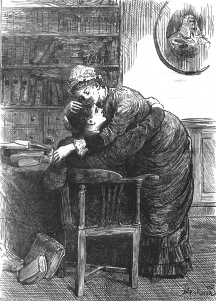 Associate Product THE PROMISING SON. mother would kiss forehead, giving thanks God, print, 1882