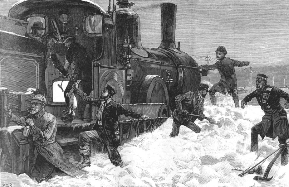 Associate Product NORTHUMBERLAND. Great Snow-Storm. Railway Passengers Snowed up Acklington, 1886