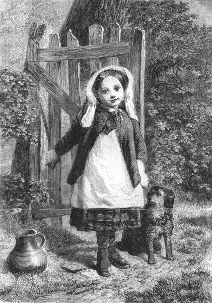 Associate Product CHILDREN. The Pet of the Village. Dog, antique print, 1861