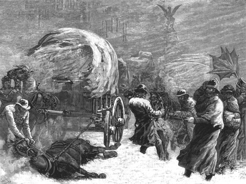 Associate Product LONDON. Fleet-Street During the Snowstorm on Tuesday Night, January 18, 1881