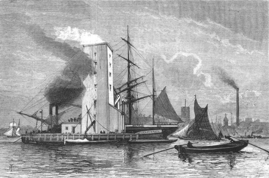 Associate Product LONDON. The American Grain Elevator on the Thames off North Woolwich, 1880