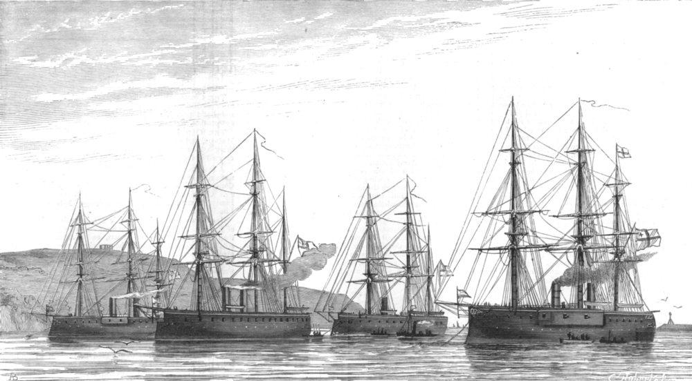 Associate Product PLYMOUTH SOUND. German ironclad fleet Deutschland;Friedrich Karl;Kronprinz, 1876