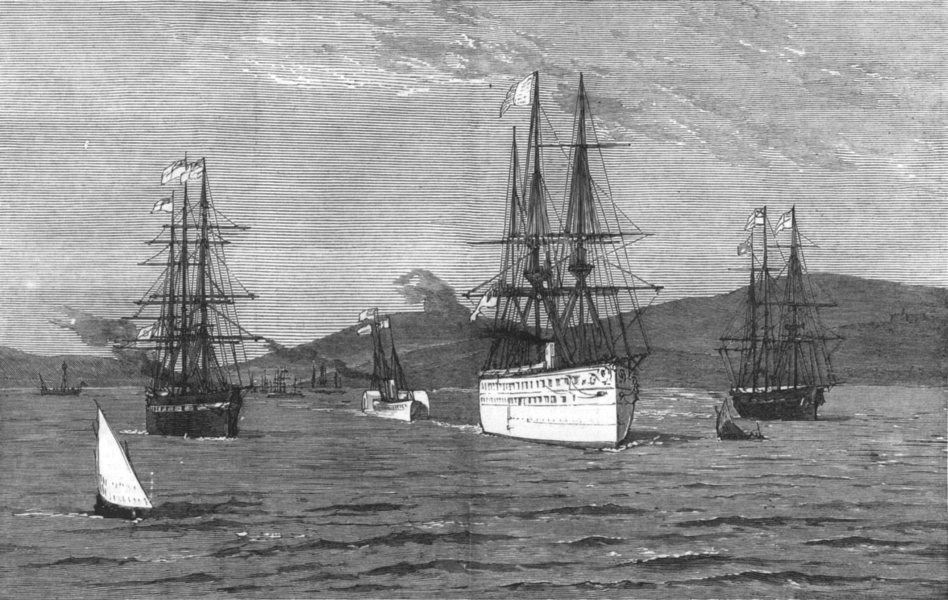 Associate Product INDIA.The Serapis with the Prince of Wales on Board Leaving Mumbai Harbour, 1876