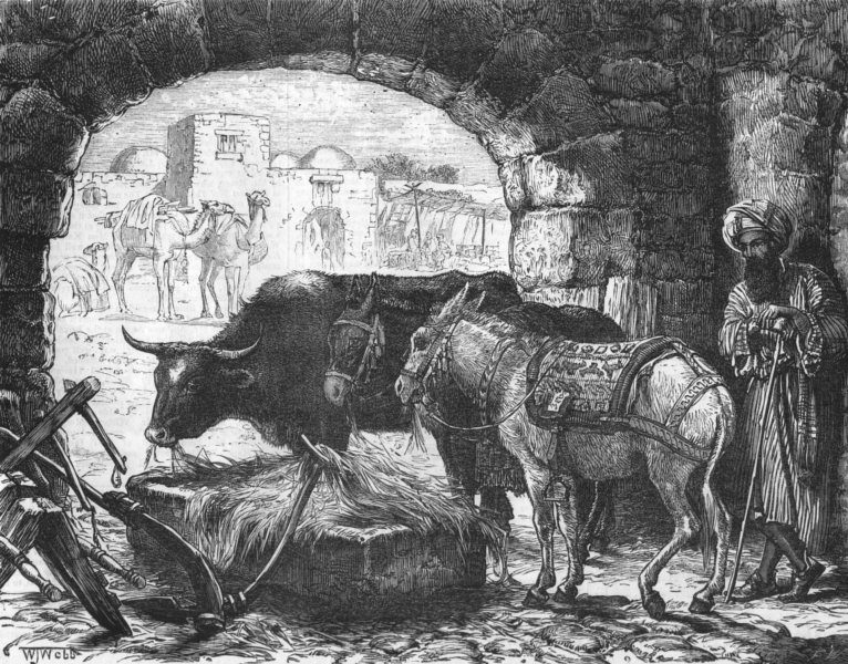 Associate Product ISRAEL. A Stable at Bethlehem, antique print, 1875