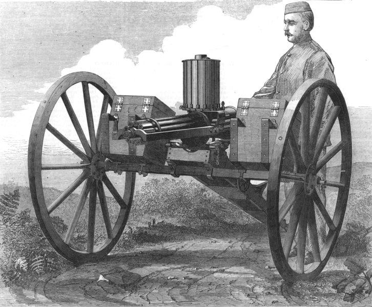 Associate Product MILITARIA. The gatling gun, antique print, 1872