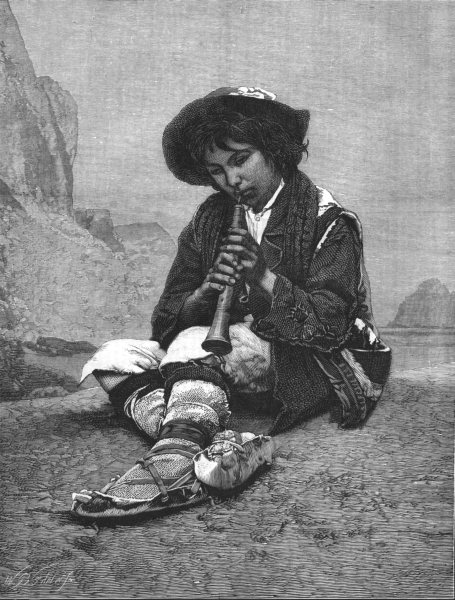 Associate Product MUSIC. The young Flageolet-player, antique print, 1876