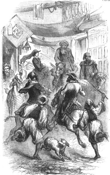 Associate Product EGYPT. Street scene at Cairo, antique print, 1857
