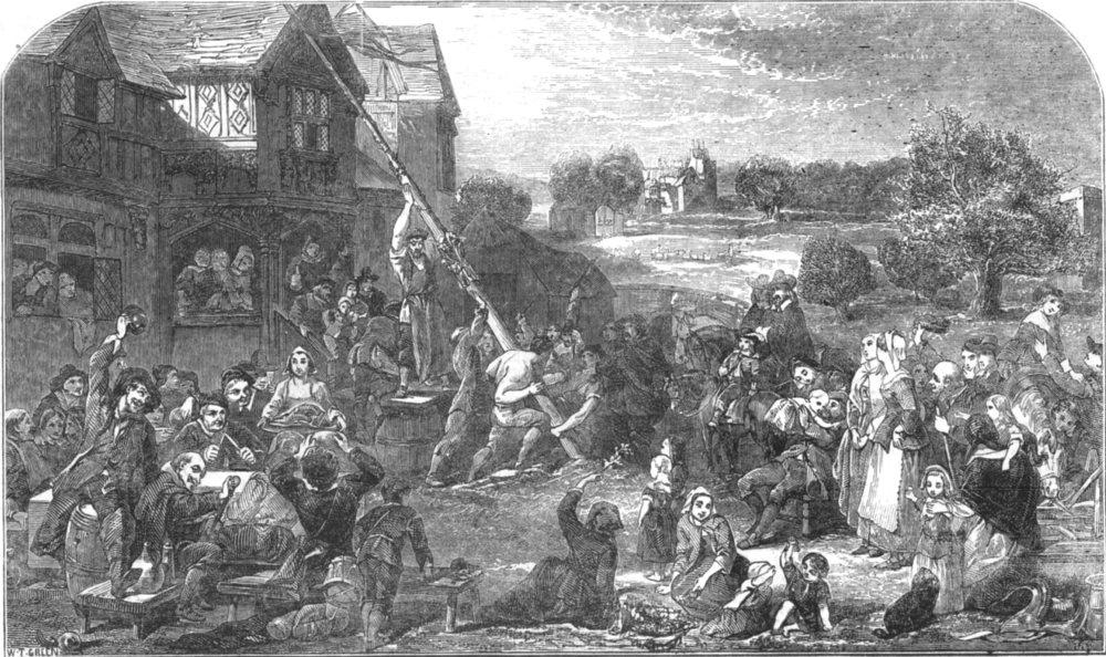 Associate Product SOCIETY. Raising the maypole, antique print, 1851