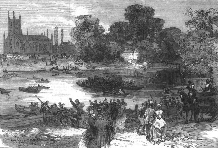 Associate Product LONDON. Hampton Races. The ferry at Moulsey, antique print, 1866