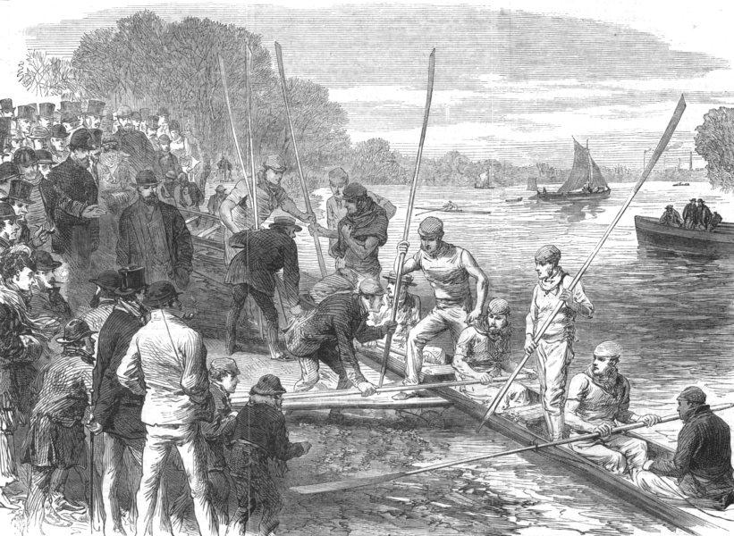 Associate Product CAMBRIDGESHIRE. The Cambridge University Boat Crew Returning From Practice, 1870
