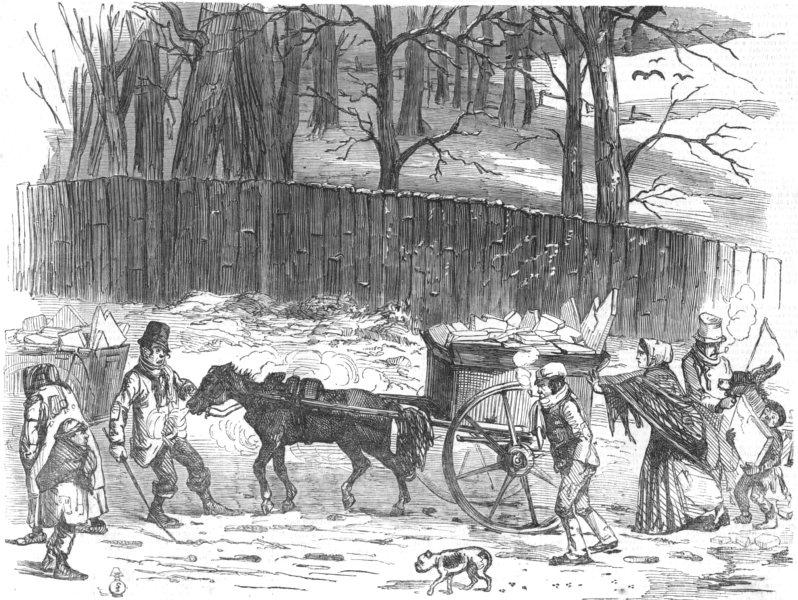 Associate Product LONDON. London Ice-Carts, antique print, 1866