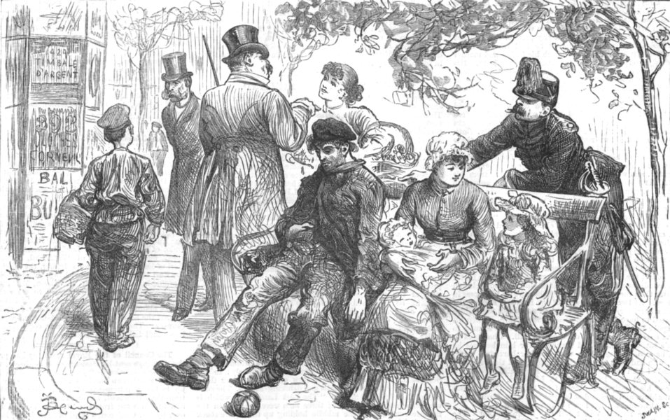 Associate Product SOCIETY. Tramp on bench with family Top hats, antique print, 1882