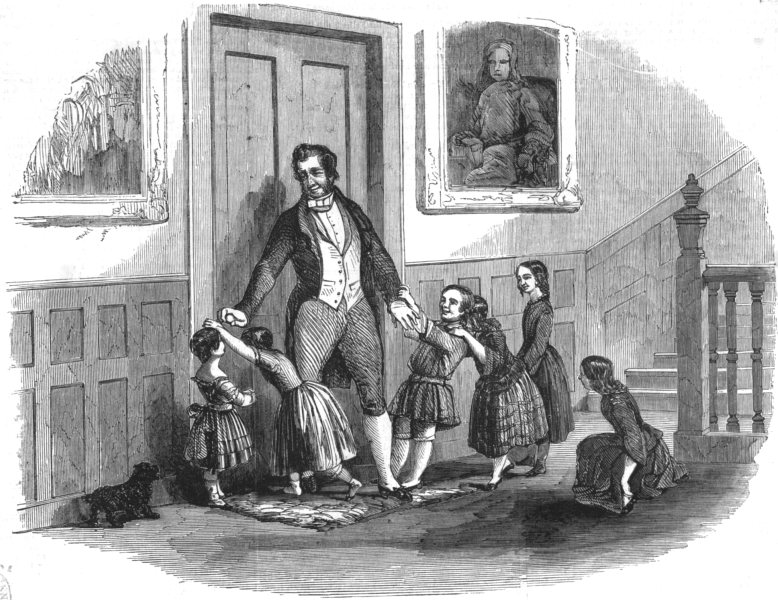 Associate Product FAMILY. Children repulsed by butler, antique print, 1851