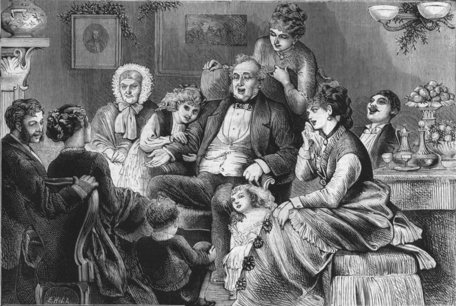 Associate Product FAMILY. A Family gathering. Grandfather's Christmas song, antique print, 1875