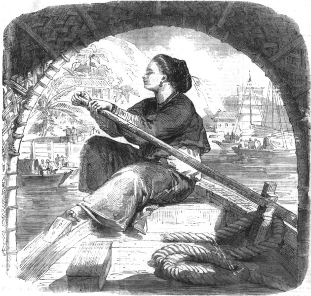 Associate Product CHINA. Sampan girl on Guangdong river, antique print, 1858
