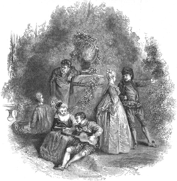 Associate Product THEATRE. Scene from Watteau, In 1644, antique print, 1844