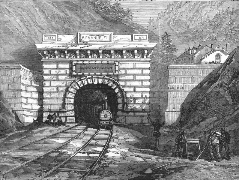 Associate Product FRANCE. North entrances to the Mont Cenis Tunnel, Modane, antique print, 1871