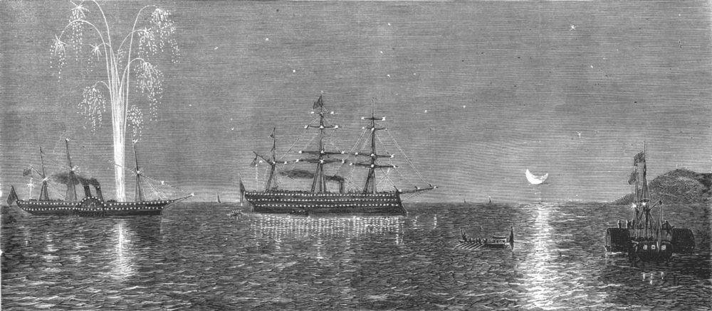Associate Product GREECE. King of returning to Yacht Serapis, 30 miles Piraeus, old print, 1875