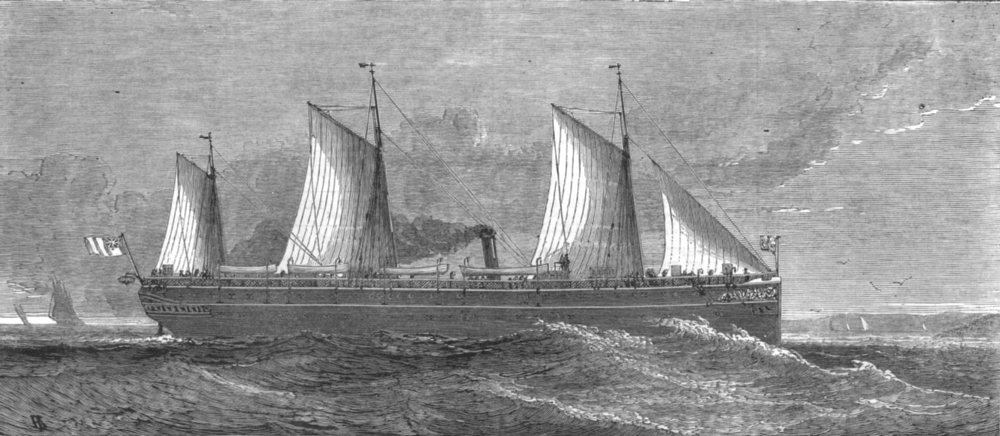 Associate Product SHIPS. Our Navy-Her Majesty's new transport steam ship Assistance, print, 1875