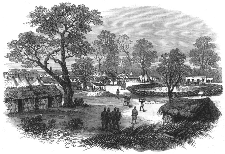 Associate Product GHANA. The camp at Dunquah, antique print, 1874