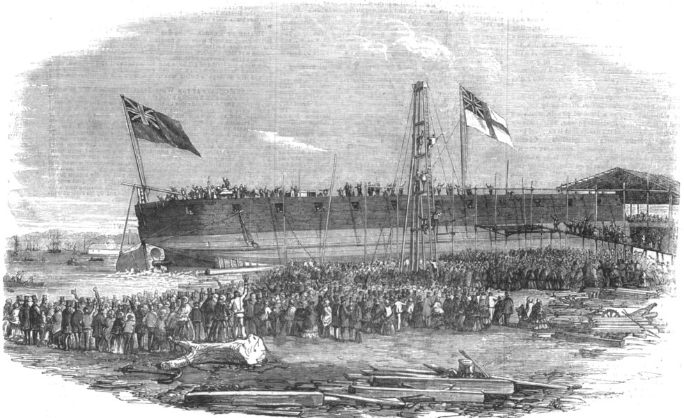 Associate Product LONDON. Launch of the floating-battery thunderbolt, at Millwall, old print, 1856
