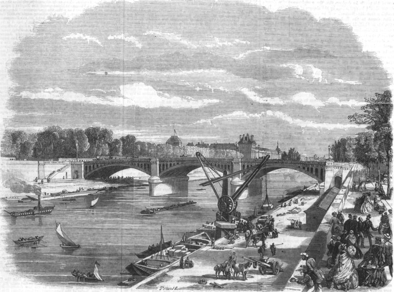 Associate Product FRANCE. New bridge over the Seine at Paris-the Pont de Solferino, print, 1860
