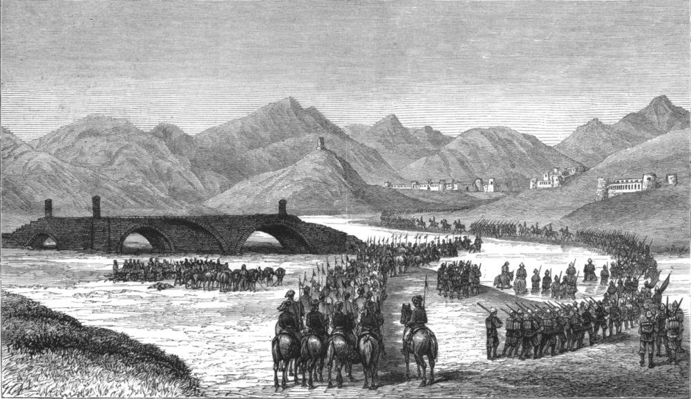 Associate Product AFGHANISTAN.War.Gen Ross division crosses Loghur river meet Donald Stewart, 1880