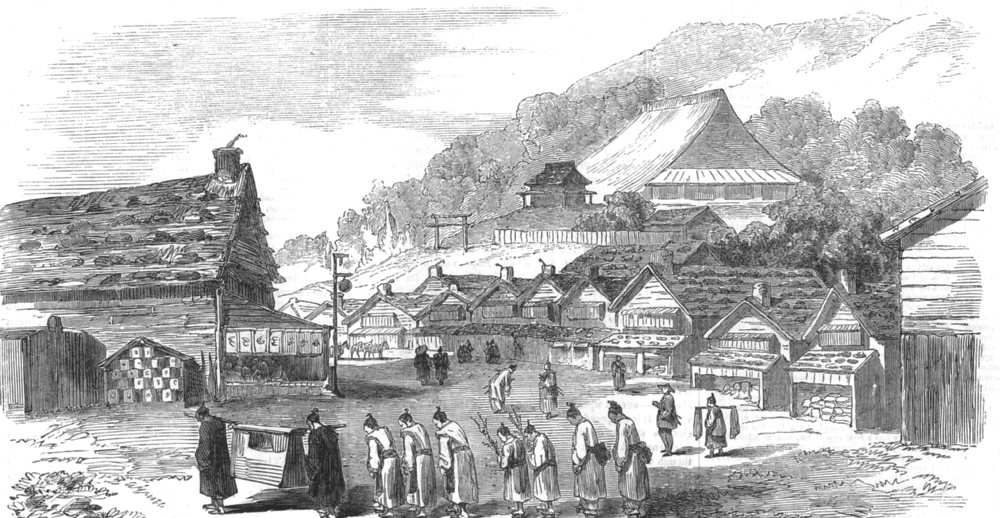 Associate Product JAPAN. Sketches in Japan. Street in Hakodade, and funeral procession, 1856