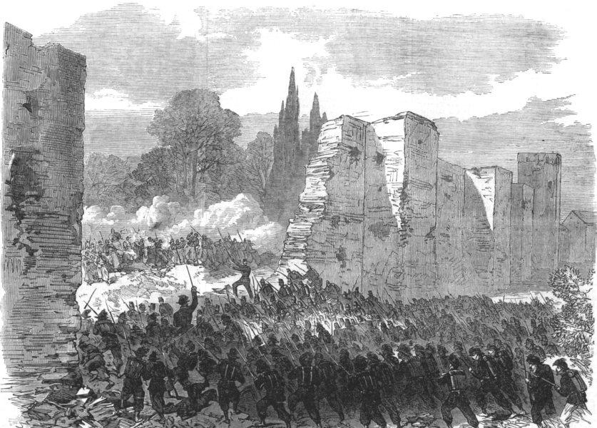 Associate Product MILITARIA. Italian troops storming a breach city walls at Villa Buonaparte, 1870