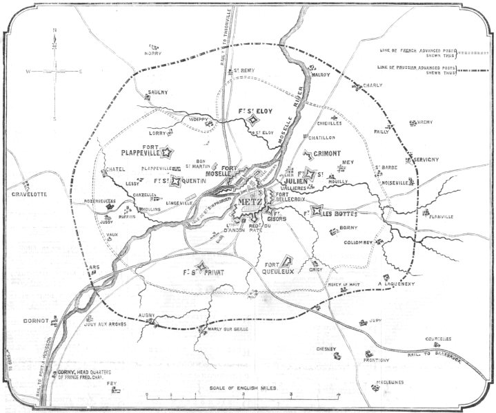 Associate Product MOSELLE. The war. fortifications of Metz and besiegers lines, old print, 1870