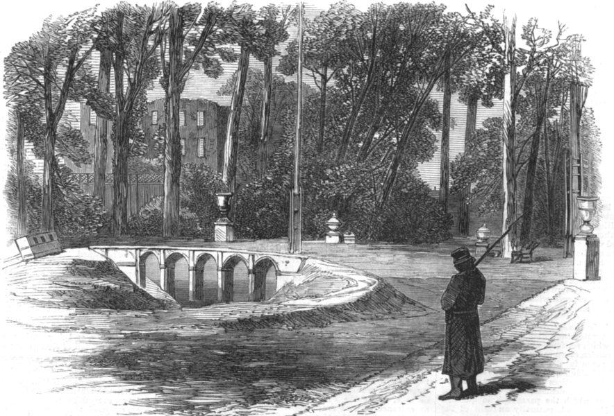 Associate Product PARIS. Siege of Paris. The prince Imperial's garden, St Cloud, old print, 1870