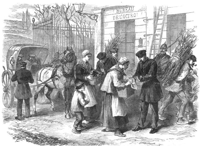 Associate Product PARIS. The Octroi gate, avenue de Paris, Versailles, antique print, 1870