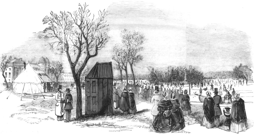 Associate Product LONDON. Skating in the Regent's Park, antique print, 1844