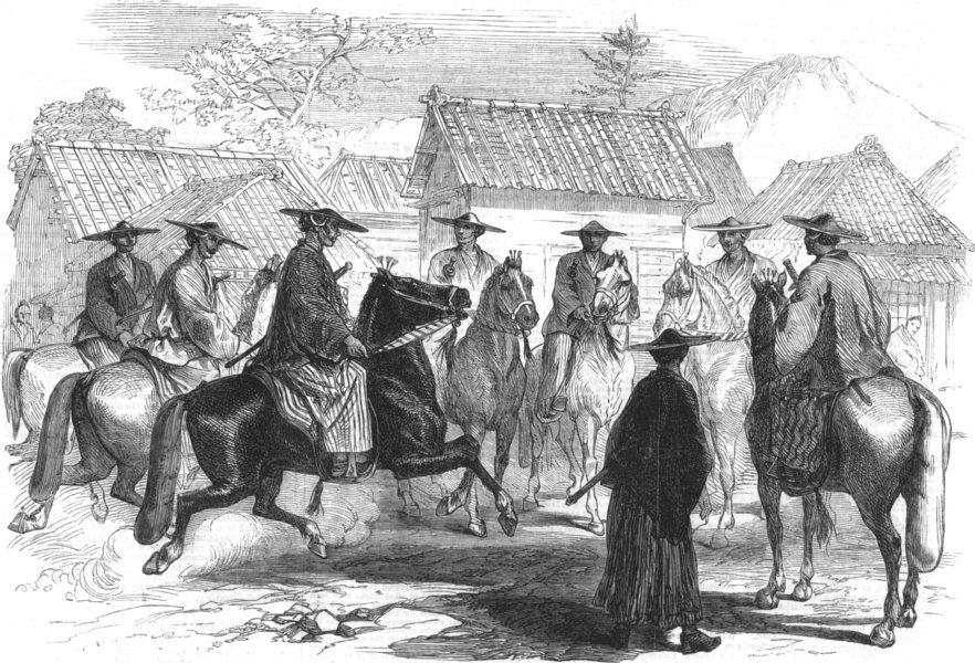Associate Product MILITARIA. Japanese cavalry, antique print, 1863