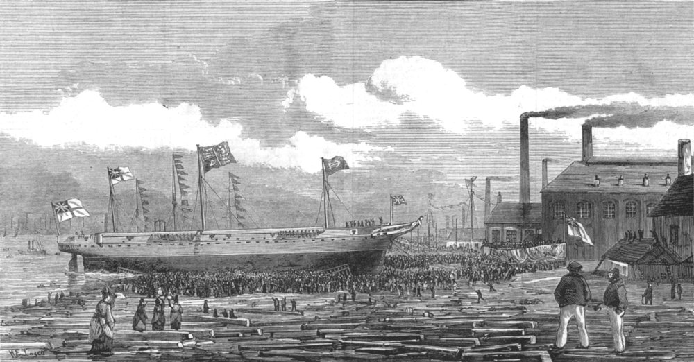 Associate Product MIDDLESBROUGH. Launch of H M S tourmaline at Middlesbrough-on-tees, print, 1875