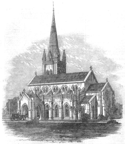 Associate Product INDIA. Memorial church at Futteygurh, India, antique print, 1864