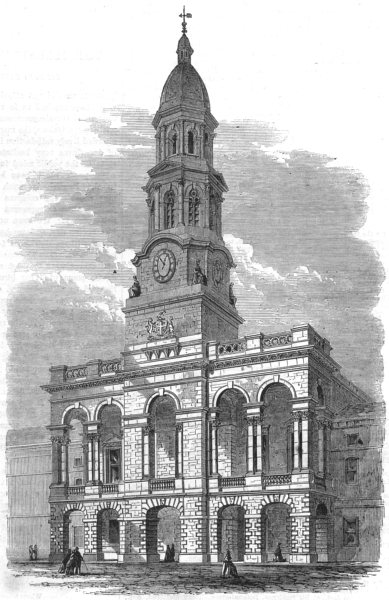 Associate Product AUSTRALIA. New townhall of Adelaide, South Australia, antique print, 1864