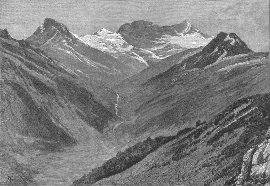 Associate Product NEW ZEALAND. Mount Earnslaw, South Island, nearly 10, 000 feet high, print, 1887