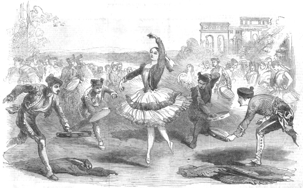 Associate Product LONDON. The Spanigh Dancers, at the Haymarket Theatre, antique print, 1854