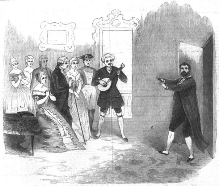 LONDON. Farinelli; Bouffon du Roi St Jamess theatre, antique print, 1844