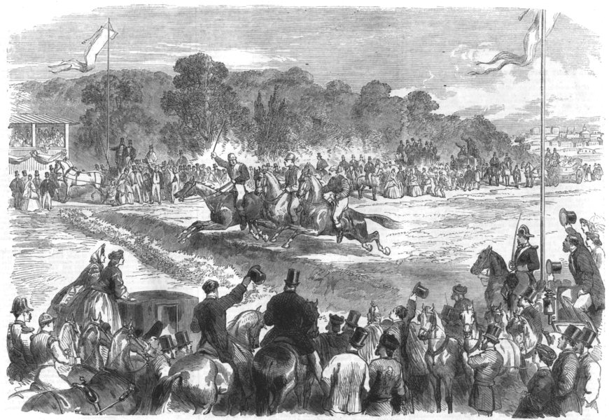 Associate Product SPAIN. Steeplechase with gentlemen riders at Madrid, antique print, 1864
