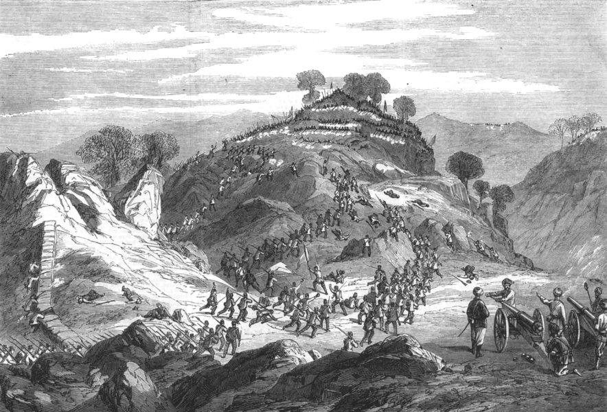 Associate Product INDIA. 71st Highland light infantry retake Crag Picket heights Ambala pass, 1860