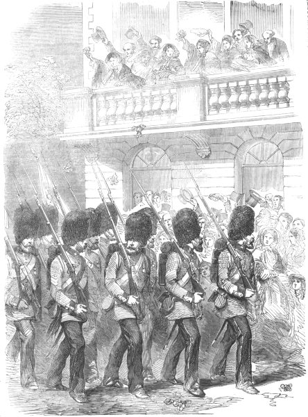 Associate Product MILITARIA. Return of the Guards-The Welcome in Parliament-street, print, 1856